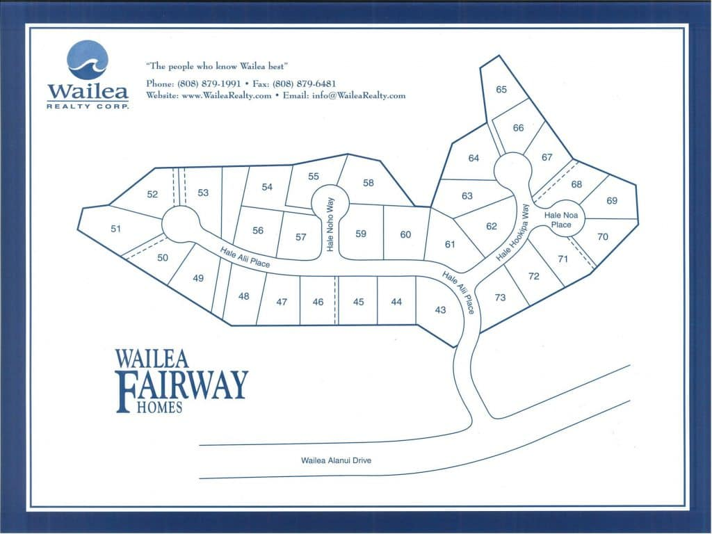 Wailea Fairway Homes map