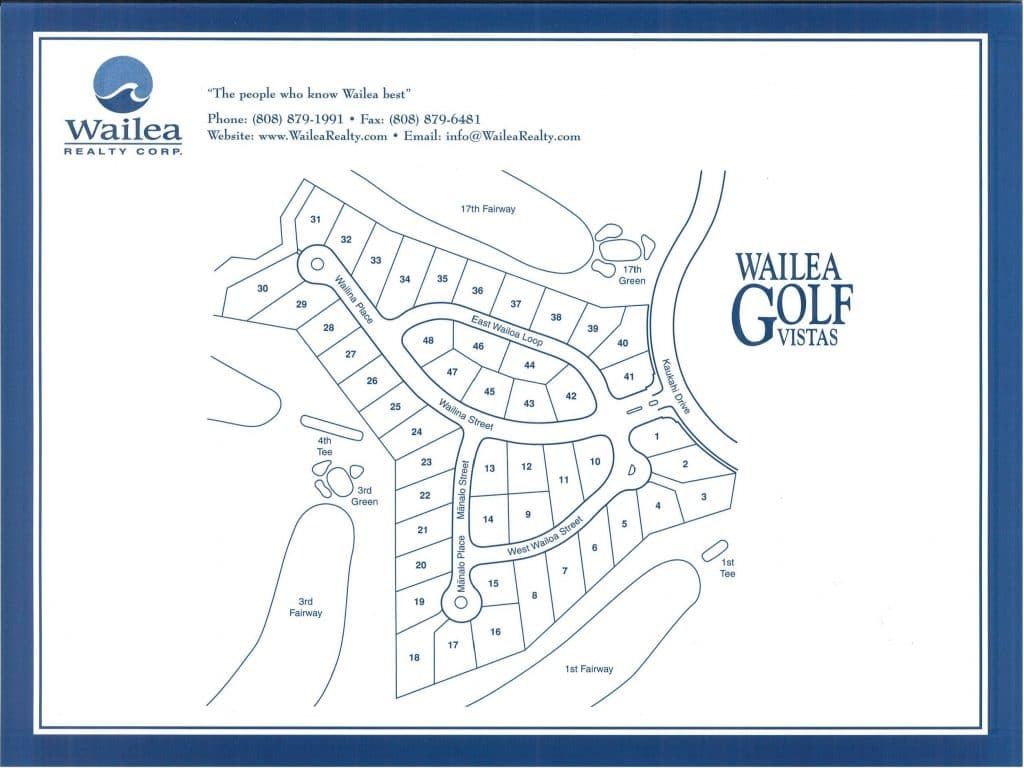 Wailea Golf Vistas map