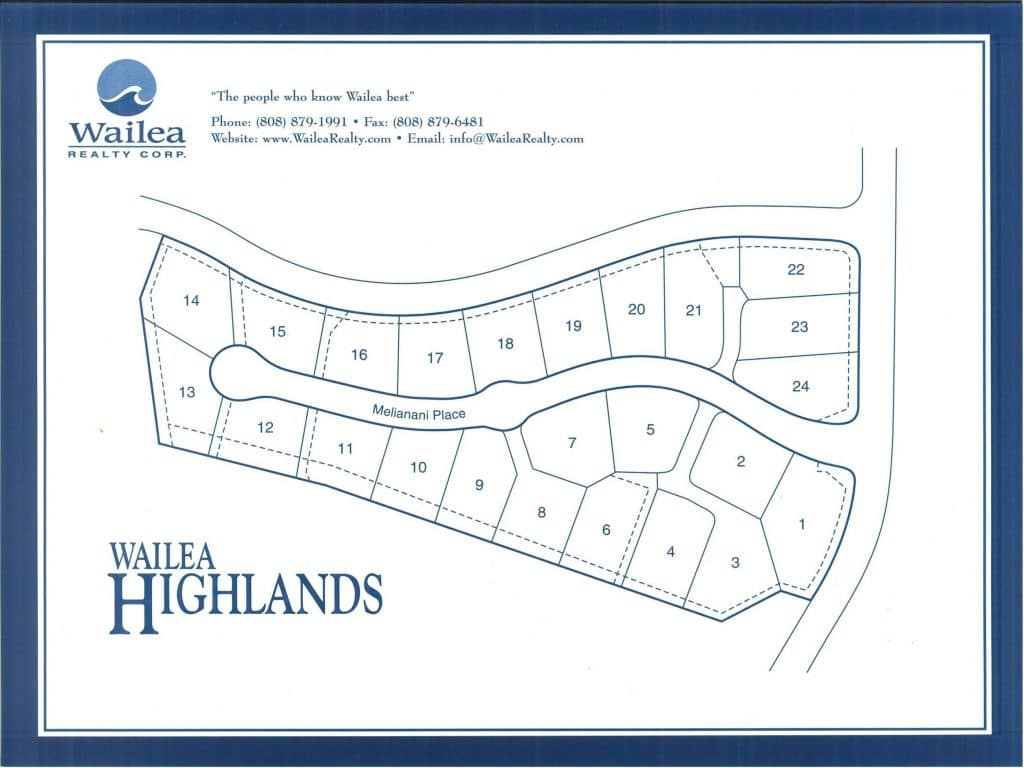 Wailea HIghlands map